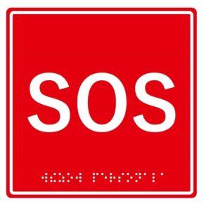"""Табличка тактильная с пиктограммой """"SOS"""" (150x150мм) красный фон MP-010R1"""